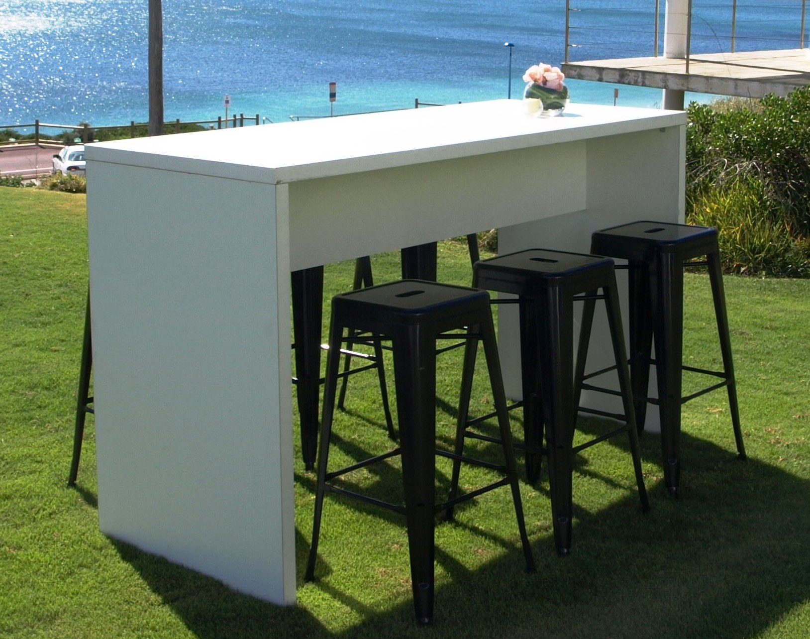 white high table with black tolix stools