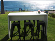 White High Table 180cm  -7 piece setting with 6 black stools