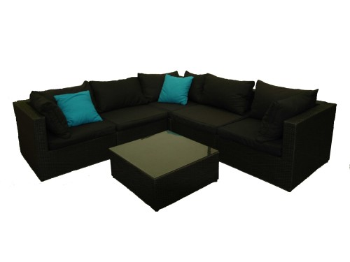2pc Wicker Lounge Black