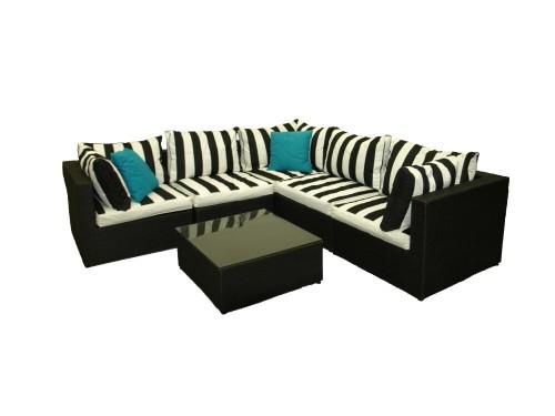 2pc Wicker Lounge Black & White Stripe