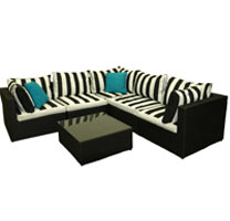 2pc Wicker Lounge Black & White Stripe