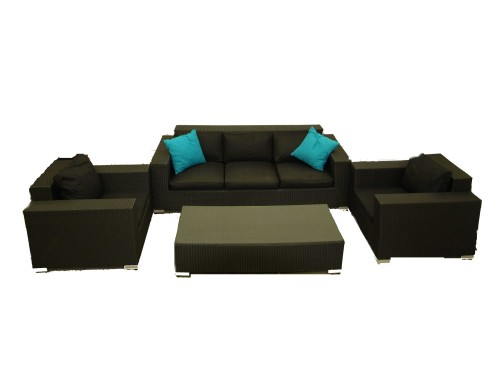 4pc Wicker Black Lounge Setting