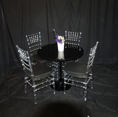 Black Table setting (inc 4 tiffany chairs)