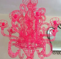 Neon Pink Wire Iron Chandelier