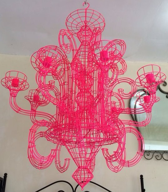 Neon pink wire iron chandelier aloadofball Choice Image