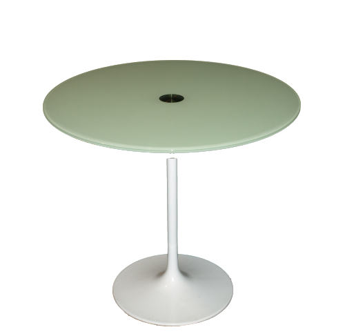White glossy glass side table