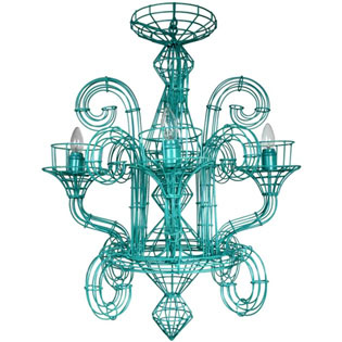 Wire Iron Chandelier Turquoise - Medium